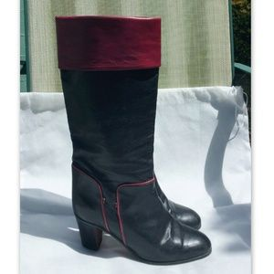 GUCCI Vintage Boots Black & Red Leather Rare